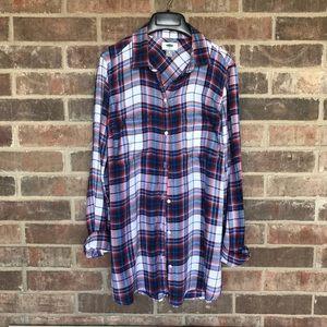 Boyfriend Plaid Flannel Shirt Tunic, Size M Tall